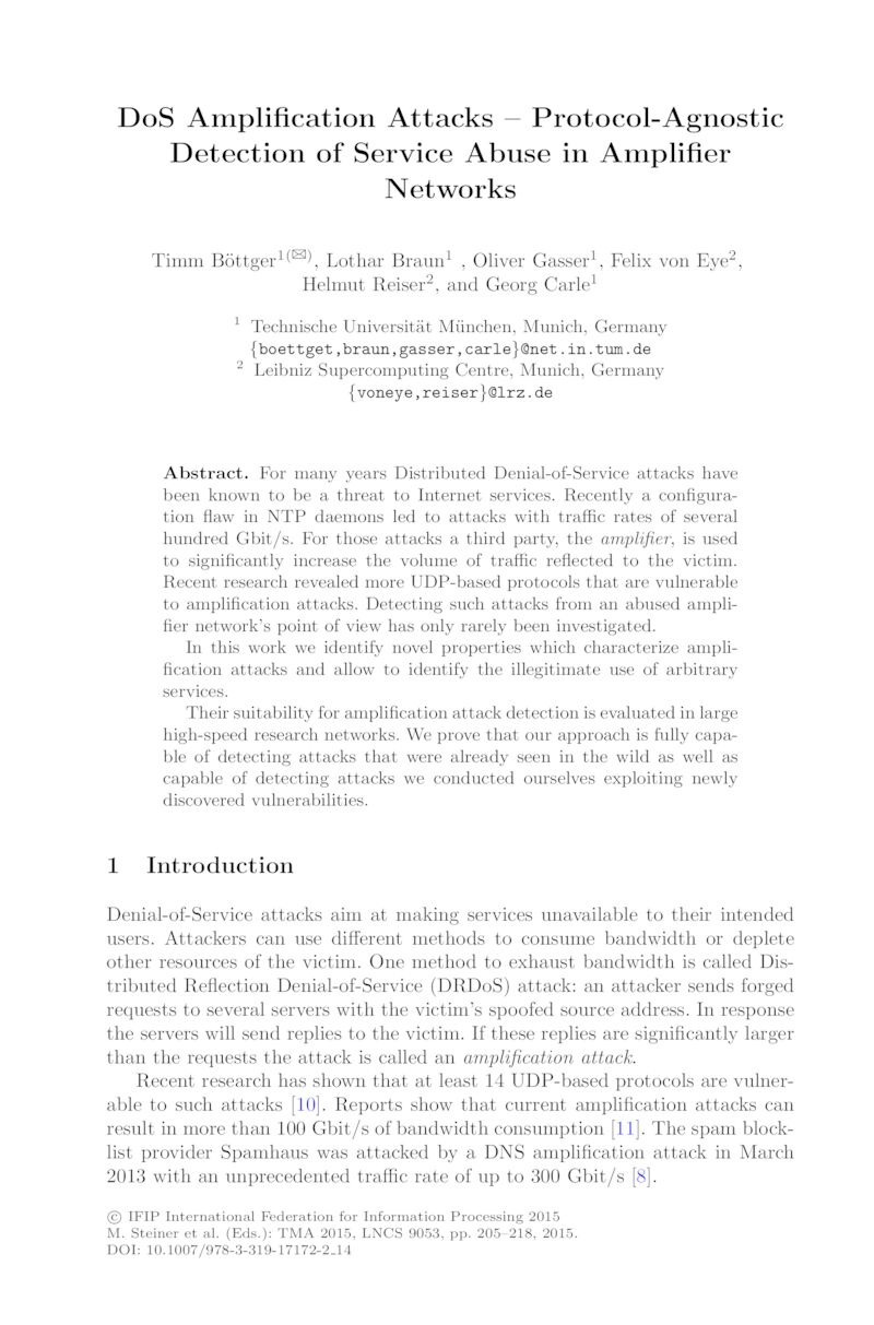 Download paper: DoS Amplification Attacks – Protocol-Agnostic Detection of Service Abuse in Amplifier Networks