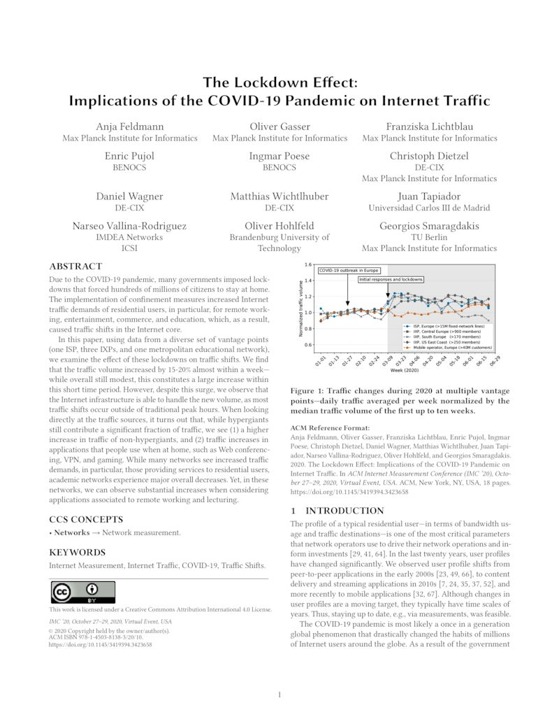 Download paper: The Lockdown Effect: Implications of the COVID-19 Pandemic on Internet Traffic