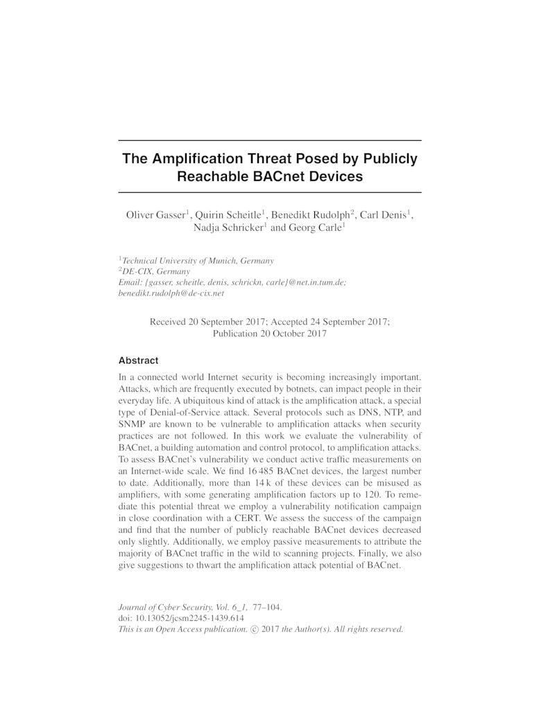 Download paper: The Amplification Threat Posed by Publicly Reachable BACnet Devices