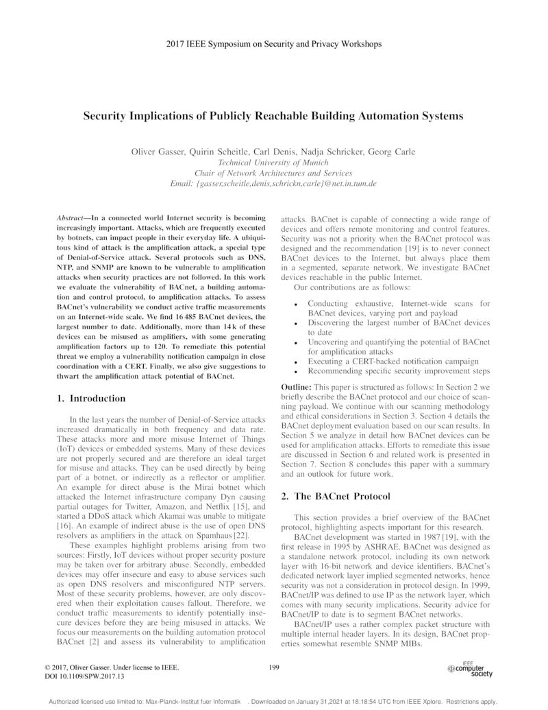 Download paper: Security Implications of Publicly Reachable Building Automation Systems