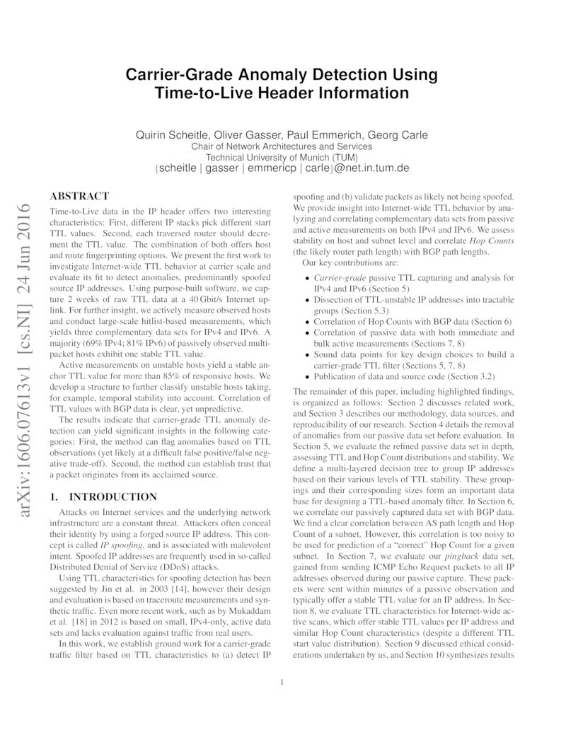 Download paper: Carrier-Grade Anomaly Detection Using Time-to-Live Header Information