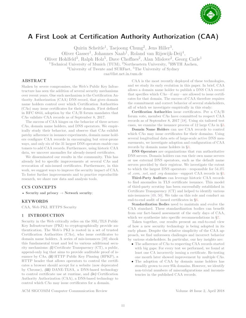 Download paper: A First Look at Certification Authority Authorization (CAA)